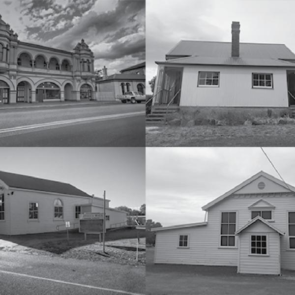 Black and white montage of four Tasmanian halls